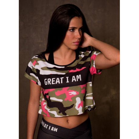 GREAT I AM MUJER CROPTOP CAMOUFLAGE