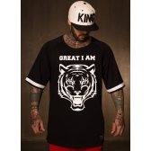 GREAT I AM CAMISETA MANGA CORTA NEGRA CON LOGO