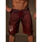 GREAT I AM BEACH SHORTS RED LEOPARD
