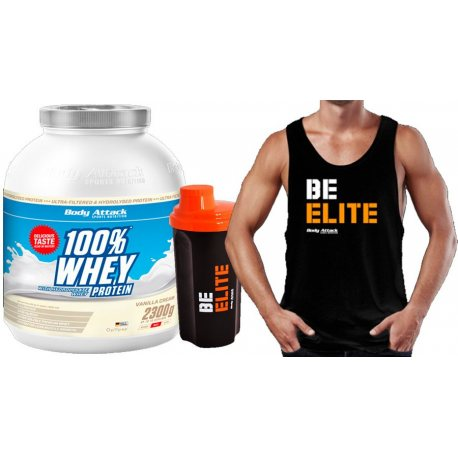 PACK BODY ATTACK WHEY PROTEIN 2.3KG REGALO CAMISETA Y SHAKER BE ELITE