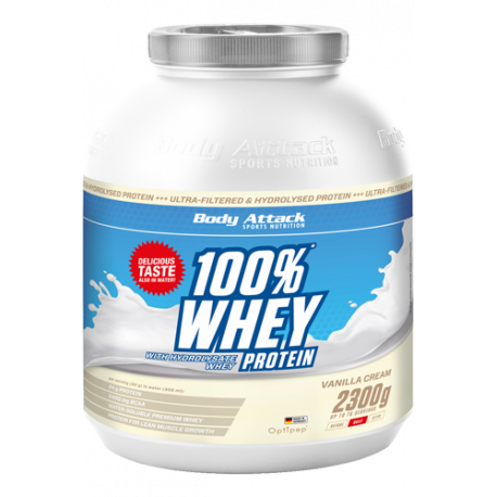 BODY ATTACK 100% WHEY PROTEIN 2,3 KG CAD: 07/2017