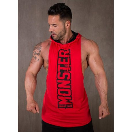 GREAT I AM CAMISETA TIRANTES CON CAPUCHA MONSTER ROJA