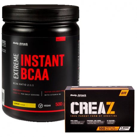 PACK BODY ATTACK EXTREME INSTANT BCAA 500 G + CREA Z 100 CAPS