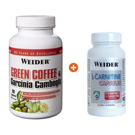 PACK WEIDER GREEN COFFEE & GARCININA 90 CAPS + L-CARNITNE 45 CAPS