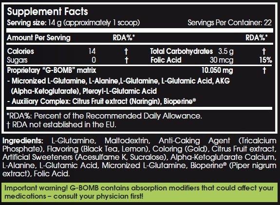 scitec g-bomb 2 308g etiqueta