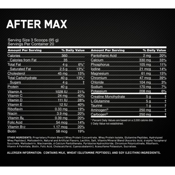 OPTIMUM NUTRITION AFTER MAX etiqueta tiendaculturista
