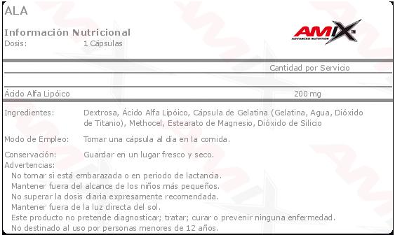 amix ala alpha lipoic acid 60 caps etiqueta