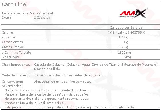 amix carniline 90 capsulas etiqueta