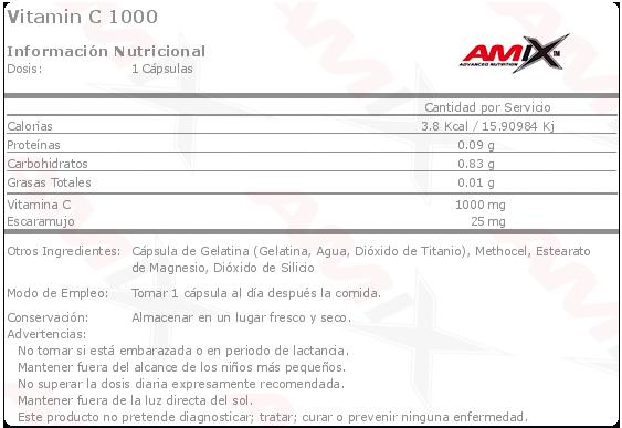 amix vitamin c 1000 100 caps etiqueta