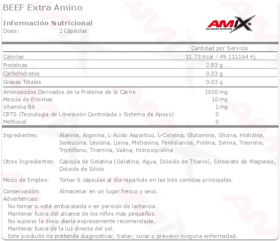 amix beef extra amino etiqueta
