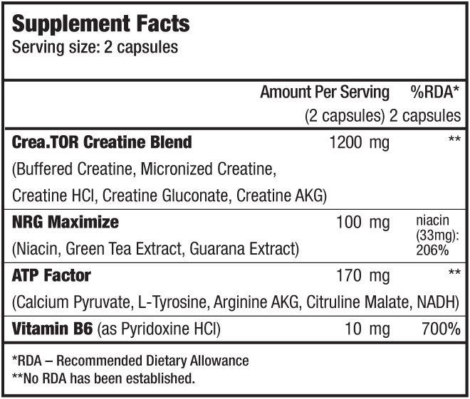 biotech crea tor 120 caps etiqueta