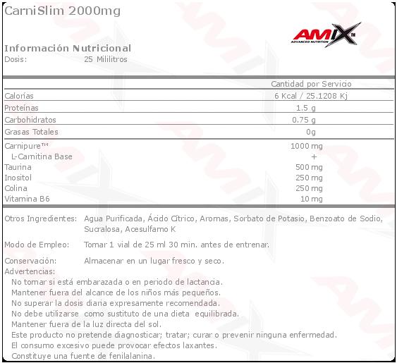 etiqueta amix carnislim 2000