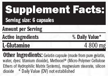 Suplemento Amix Glutamine 360 caps etiqueta
