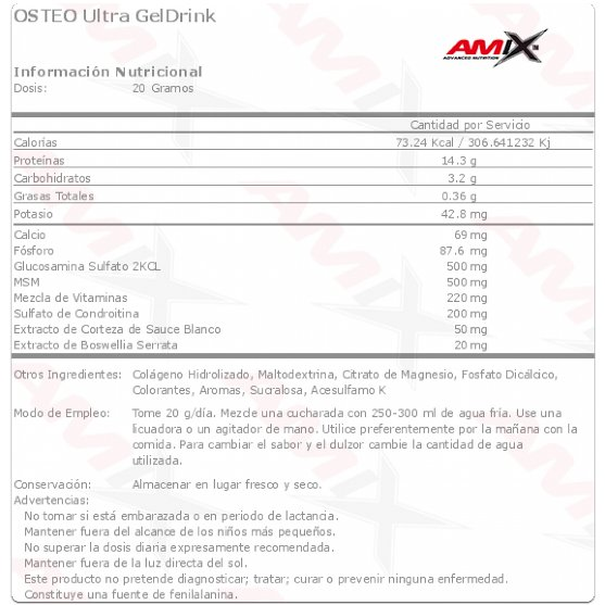 amix osteo ultra gel drink etiqueta