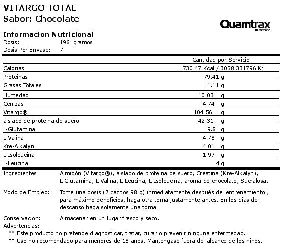 quamtrax vitargo total 1400 etiqueta