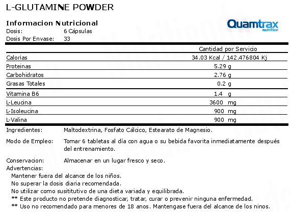 quamtrax l-glutamine powder 800