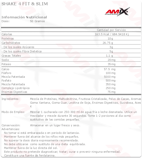 amix shake 4 fit slim 1kg etiqueta