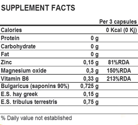 supplement facts TRIBU zma life pro