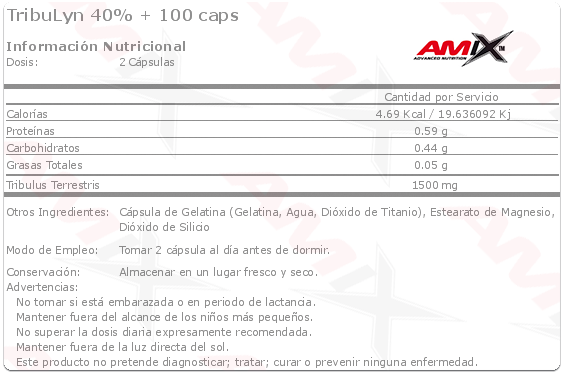 amix tribulyn 40% etiqueta