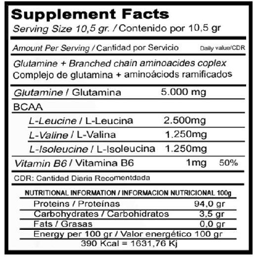 vitobest glutamina + bcaa 500g etiqueta