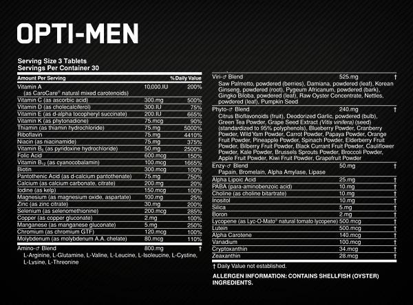 OPTIMUM NUTRITION OPTI-MEN facty