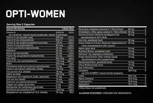 OPTIMUM NUTRITION OPTI-WOMEN etiqueta