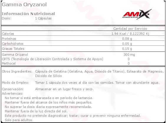 amix gamma oryzanol 90 caps etiqueta
