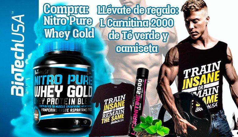 Biotech Nitro Pure: LCarnitina 200 Té Verde + Camiseta Train insane de regalo